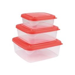 Set de 3 boites micro carre 19.5 x 19.5 x 8 cm Rouge