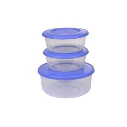set de 3 boites micro ronde - ø19*h9cm - indigo