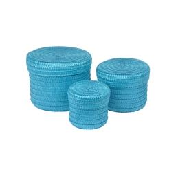 set de 3 boites rondes plastique tressé ø10/ø15/ø18cm trendy bleu ocean