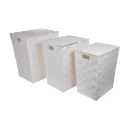 set de 3 coffres a linge papier tressé 44/62/83l blanc