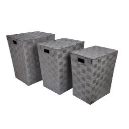 set de 3 coffres a linge tressés papier douceur d'interieur h.46>54cm gris
