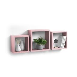 set de 3 cubes gigognes mdf 23/26,5/30cm rose poudré