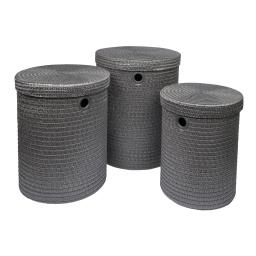 set de 3 paniers a linge plastique tressé 18l/29l/45l trendy anthracite
