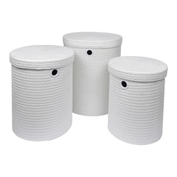 set de 3 paniers a linge plastique tressé 18l/29l/45l trendy blanc
