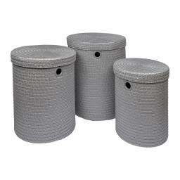 set de 3 paniers a linge plastique tressé 18l/29l/45l trendy gris clair