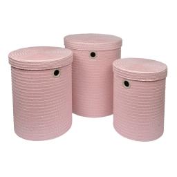 set de 3 paniers a linge plastique tressé 18l/29l/45l trendy rose poudré