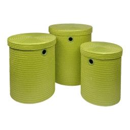 set de 3 paniers a linge plastique tressé 18l/29l/45l trendy  vert anis