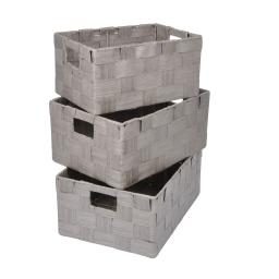 set de 3 paniers papier tressé 30/34/36cm taupe