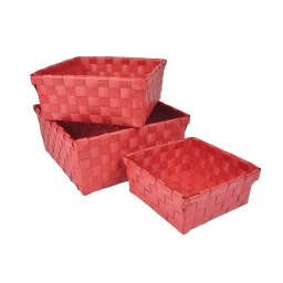 set de 3 paniers tressé plastique 14,5/18/21,5cm vitamine rouge