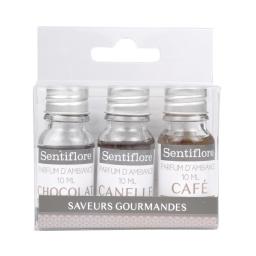 set de 3 parfums d'ambiance theme saveurs gourmandes - 3x10ml