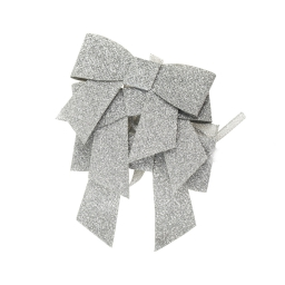 set de 3 ronds de serviette forme noeud-couleur argent-h6x7cm