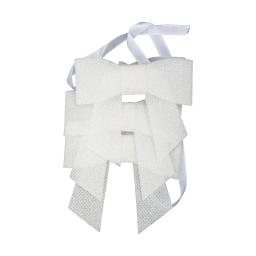 set de 3 ronds de serviette forme noeud-couleur blanche-h6x7cm