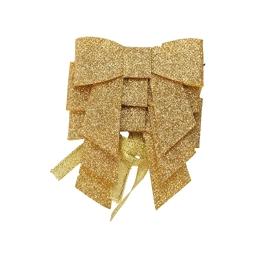 set de 3 ronds de serviette forme noeud-couleur or-h6x7cm