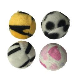 set de 4 balles pour chat zébrées en polyester ø4cm