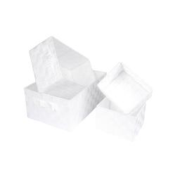 set de 4 paniers tressé lanieres plastique 2x17/32/36cm glitter home blanc