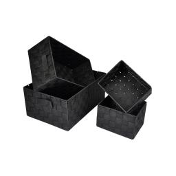 set de 4 paniers tressé lanieres plastique 2x17/32/36cm glitter home noir