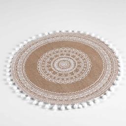 Set de table (0) 38 cm jute imprime+pompons renata Blanc