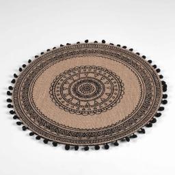 Set de table (0) 38 cm jute imprime+pompons renata Noir