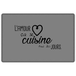 Set de table 28.5 x 43.5 cm pvc imprime cuisine amour Gris