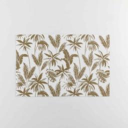 Set de table 28.5 x 43.5 cm pvc imprime metallise feuillor Blanc/or