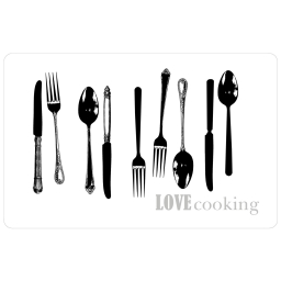 set de table 28.5 x 44 cm polypropylene transparent love cooking