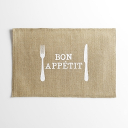 set de table 30 x 45 cm jute imprime appetito