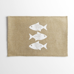 set de table 30 x 45 cm jute imprime fishy
