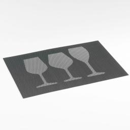 Set de table 30 x 45 cm pvc bicolore verres Noir/Blanc