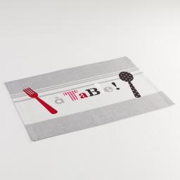 Set de table 33 x 45 cm coton imprime epicurien Gris