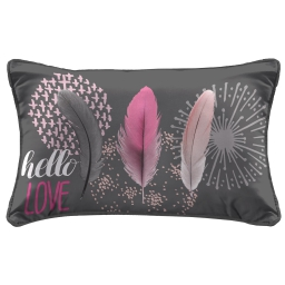 So coussin passepoil 30 x 50 cm fils coupes imprime pink dreams Anthracite