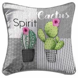 so coussin passepoil 40 x 40 cm fils coupes imprime cactus spirit