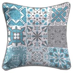 So coussin passepoil 40 x 40 cm fils coupes imprime persane Bleu