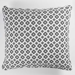 So coussin passepoil 60 x 60 cm coton imprime graphic home Blanc
