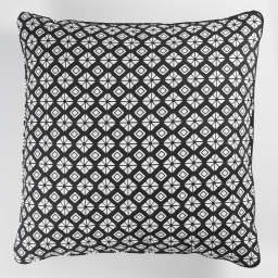 So coussin passepoil 60 x 60 cm coton imprime graphic home Noir