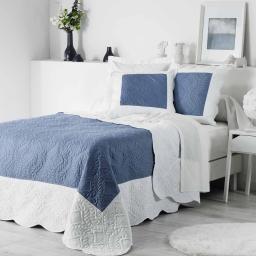 So couvre lit 2 pers. matelasse 220x240 cm microfibre bicolore andrea Bleu/Blanc