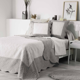 So couvre lit 2 pers. matelasse 240x260 cm microfibre bicolore andrea nat/taupe Naturel/Taupe