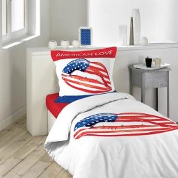 so parure 2 p. 140 x 200 cm imprime 42 fils dessin place american love