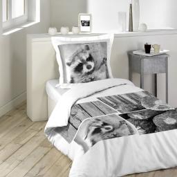so parure 2 p. 140 x 200 cm imprime 42 fils dessin place raton laveur