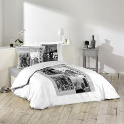 So parure 3 p. 200 x 200 cm imprime 42 fils dessin place edison Blanc