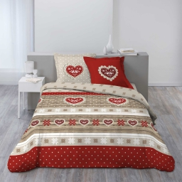 so parure 3 p. 240 x 220 cm flanelle imprimee allover coeur rouge