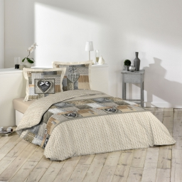 So parure 3 p. 240 x 220 cm imprime 42 fils allover cosy love Beige