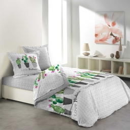 so parure drap 4 p. 140 x 190 cm imprime 57 fils allover love cactus