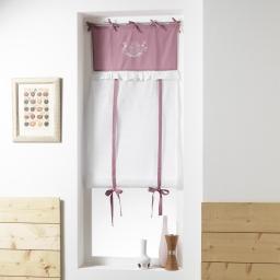 Store droit a nouettes 60 x 150 cm polyester brode bonheur Rose/Blanc