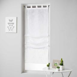 Store droit a passants 45 x 180 cm effet lin tisse haltona Blanc