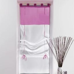 Store droit a passants 45 x 180 cm voile bicolore duo Blanc/Aubergine
