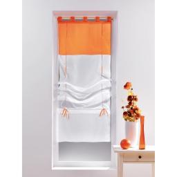 Store droit a passants 45 x 180 cm voile bicolore duo Blanc/Mandarine
