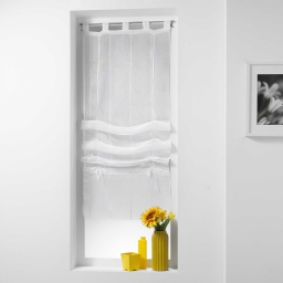Store droit a passants 45 x 180 cm voile sable fils chenille linahe Blanc