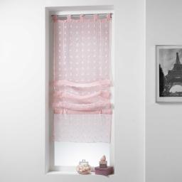 Store droit a passants 45 x 180 cm voile sable pompons pomponi Rose