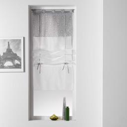 Store droit a passants 45 x 180 cm voile uni+top imprime tunis Anthracite