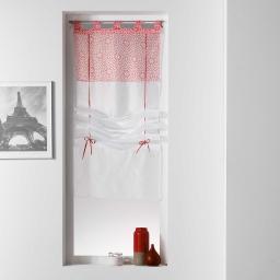 Store droit a passants 45 x 180 cm voile uni+top imprime tunis Corail